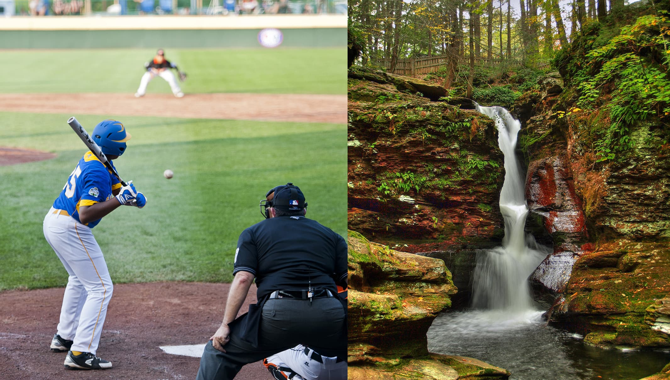 Left: boy swinging baseball bat. Right: waterfall with green foliage around