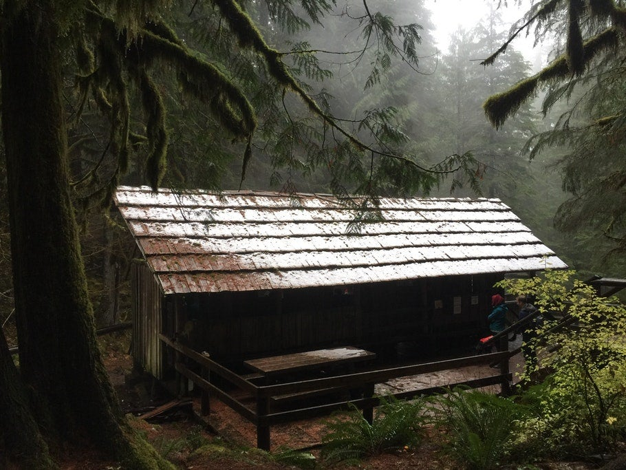 A small wooden structure with a pitched roof in a misty forest of ever green trees, the main structure of Bagby Hot Springs
