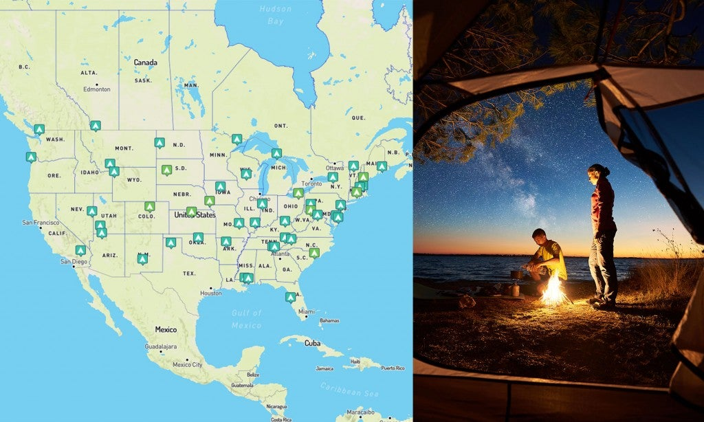 (left) top campground per state, mapped (right) looking through tent door from the inside showing two beach campers stand near campfire at sunset
