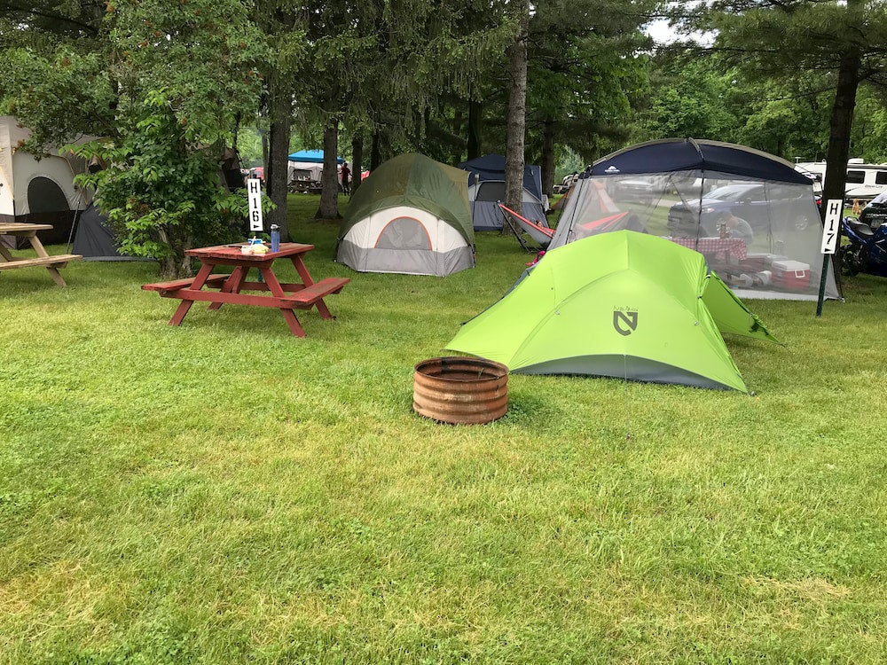 Green tent and other tents on campsite with trees in background