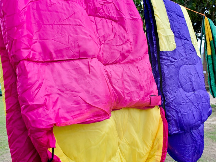 hanging clean sleeping bags to dry