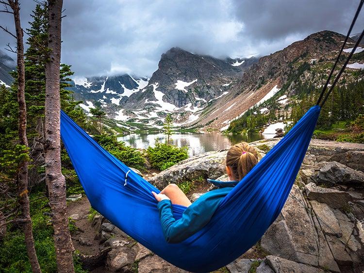 hammock camper near lake
