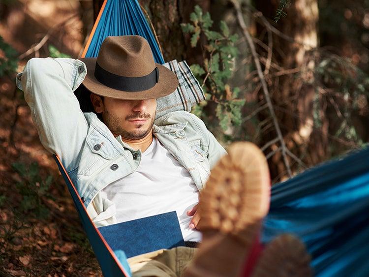man napping in hammock