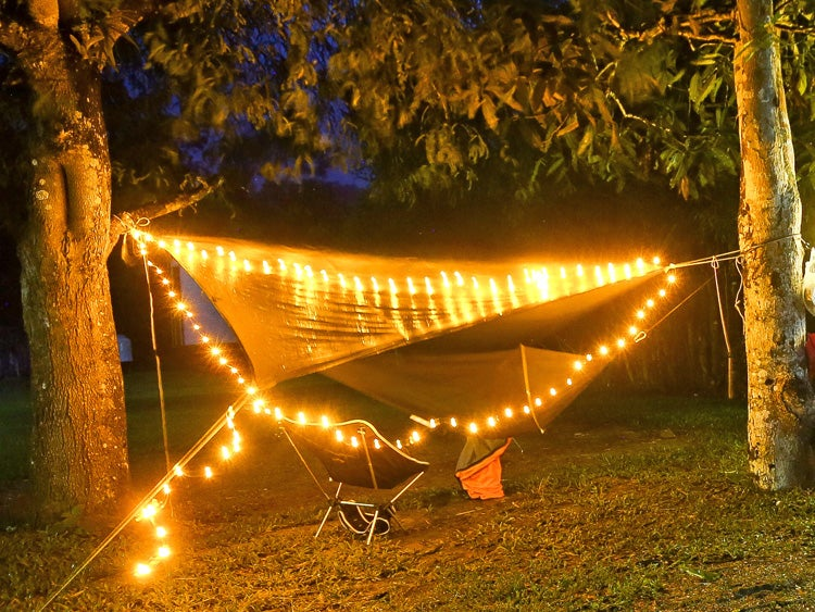 hammock at night with lights