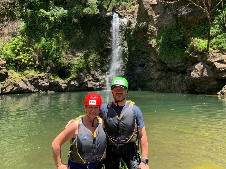 two adventurers wear lifevests and helmets in waters near Hawaii's Hosmer Grove, photo from a camper on The Dyrt