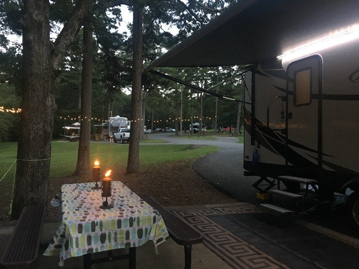 RV campground set up at Petit Jean State Park in Arkansas, photo from a camper on The Dyrt