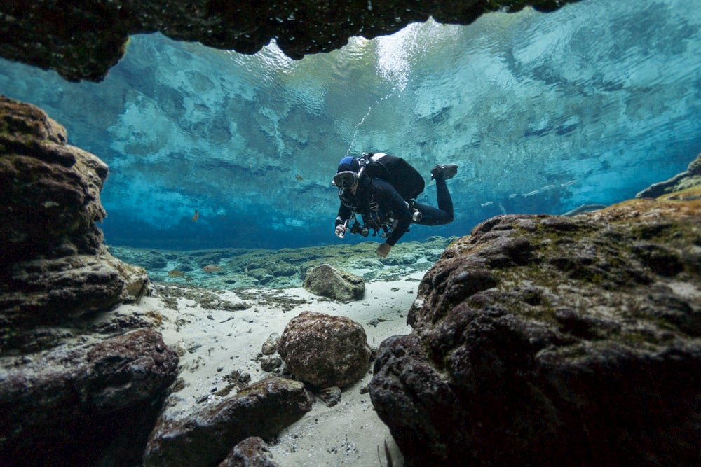 Person scuba diving under water