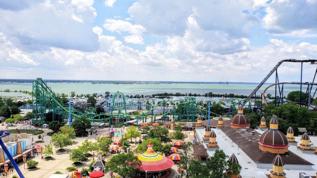 a view of cedar point amusement park