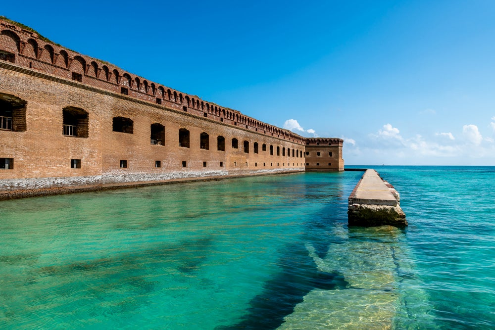Dry Tortugas National Park with blue water and building