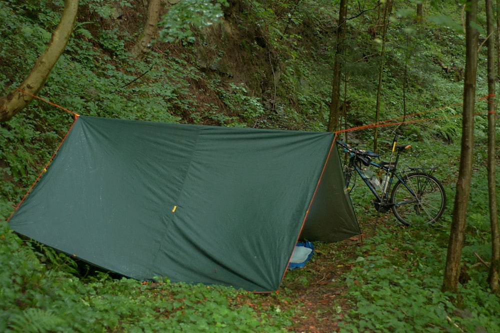 A-frame style tarp setup while bike packing.