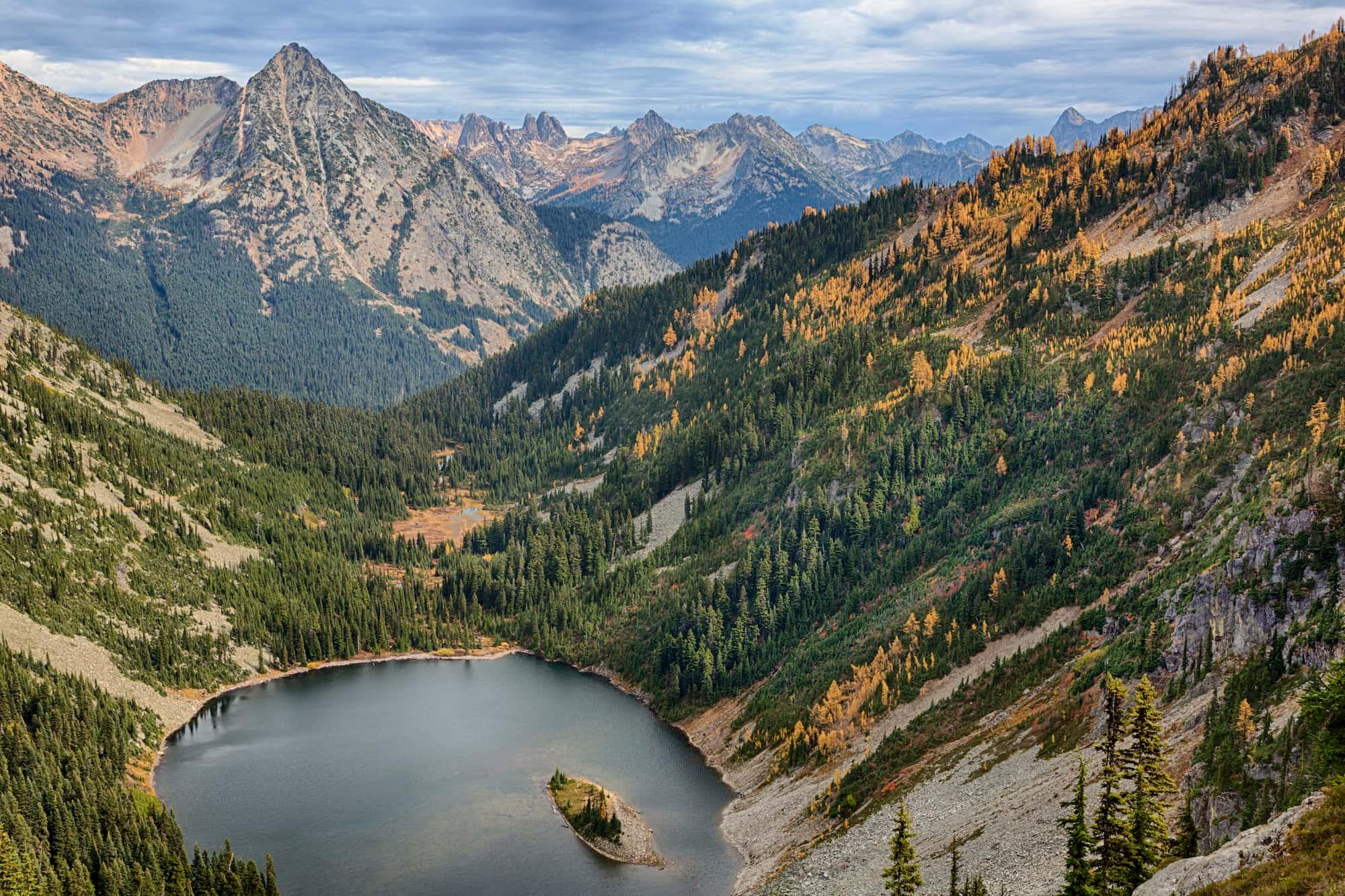 large mountains with alpine lake