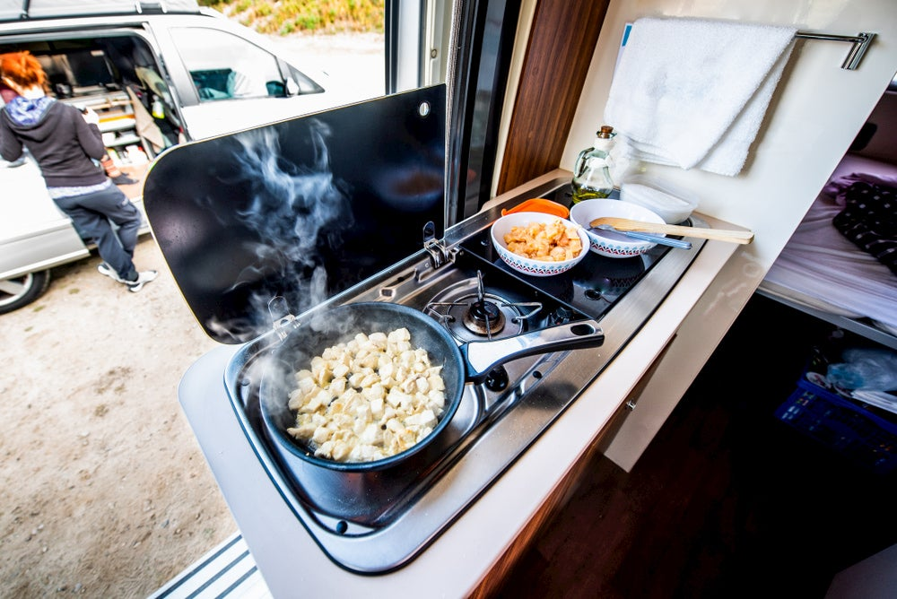 Chicken cooking in a frying pan on an RV stove.