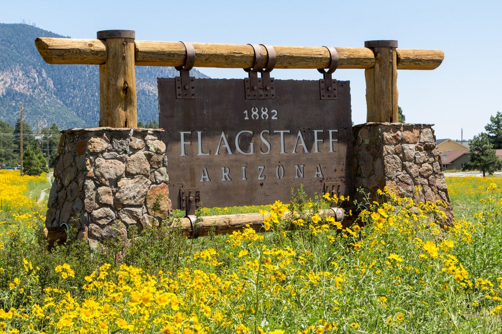 Flagstaff sign with wildflowers surrounding it.
