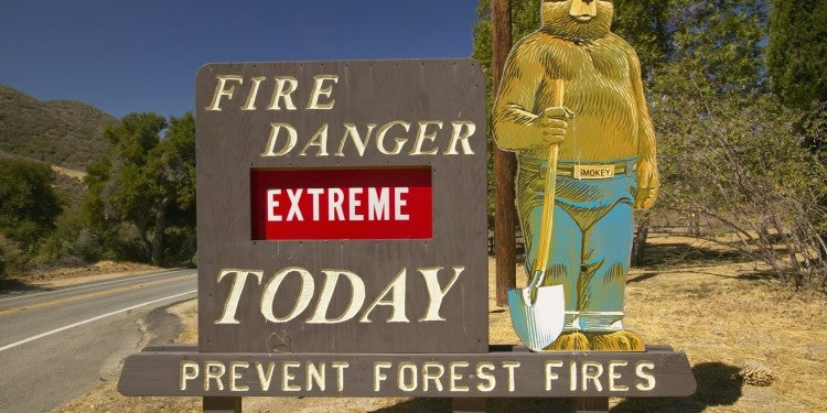 a sign with smoky the bear showing the fire danger in the forest