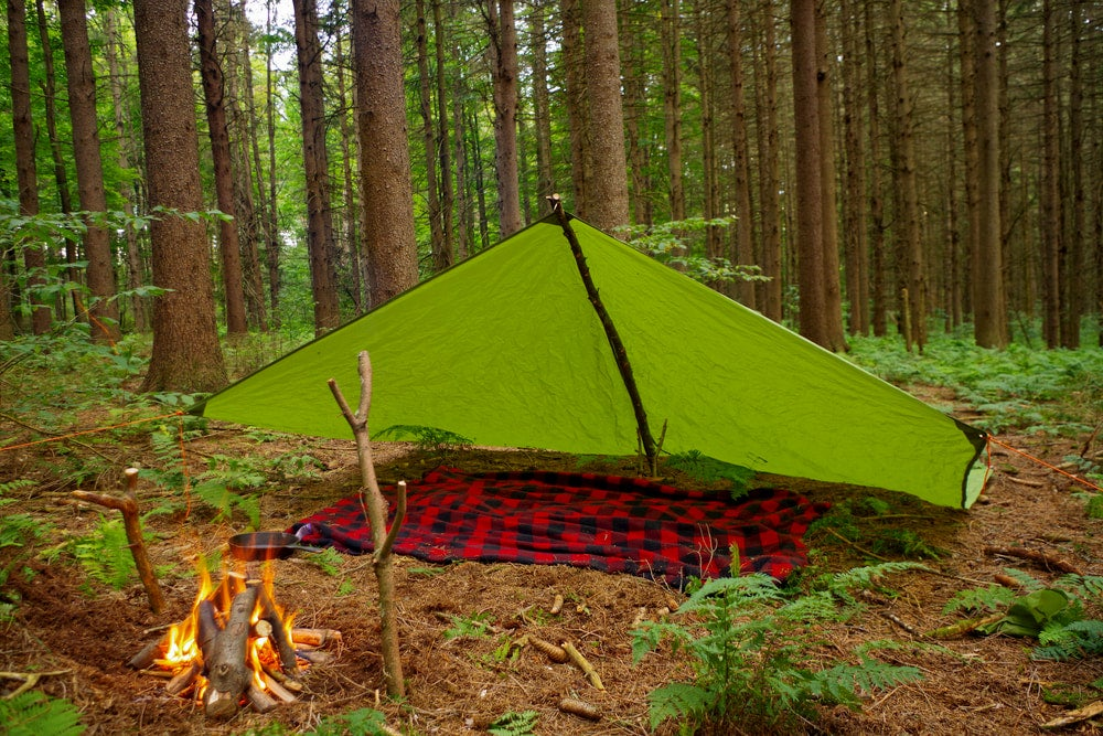 Lean to style tarp over flannel blanket in the forest.