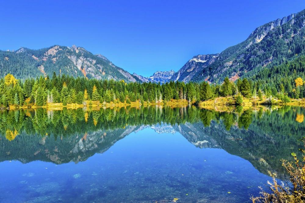 Mountain refection on lake