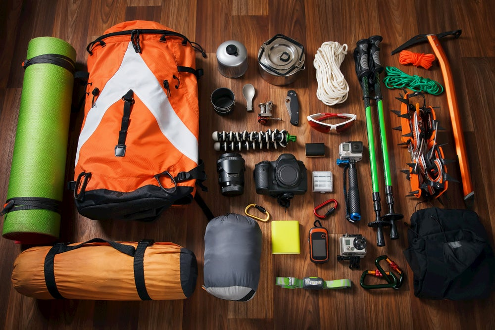 Layout of hiking gear and pack.