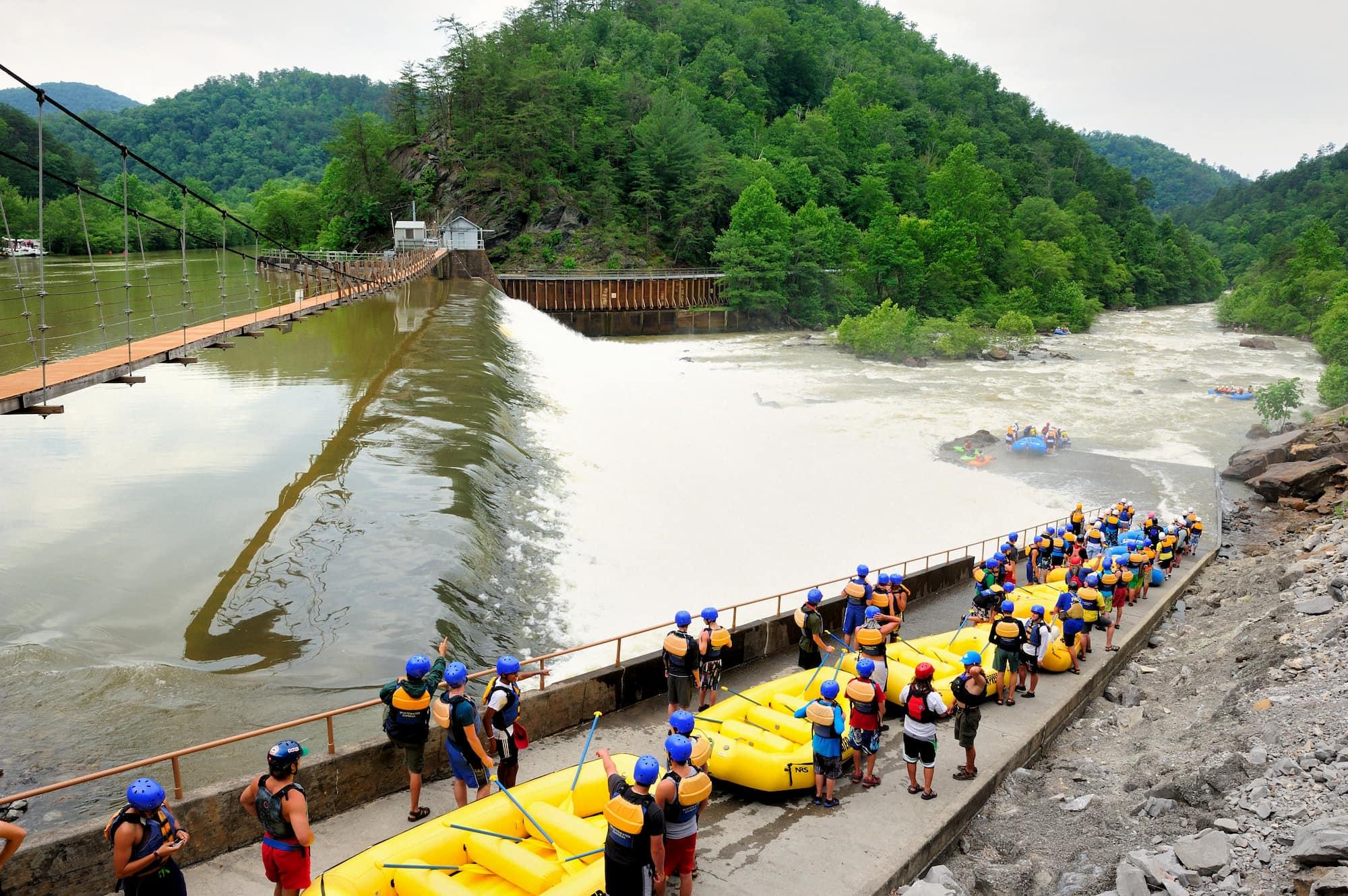 White water raft drop in spot along the Ocoee.