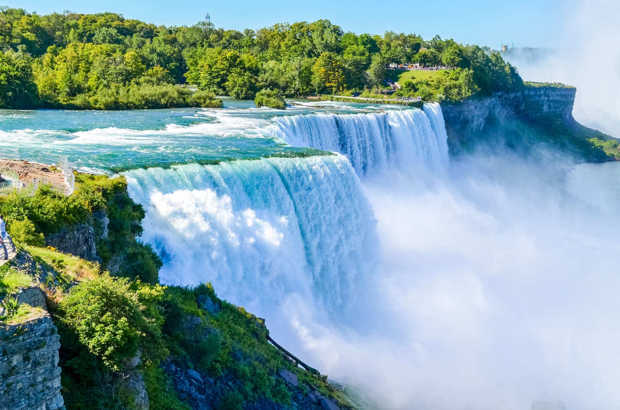 Niagara Falls with green trees in background