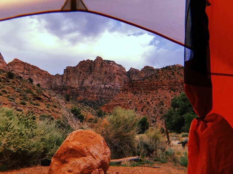 view from inside tent of red rocks at Utah's Watchman campground, photo from a camper on The Dyrt