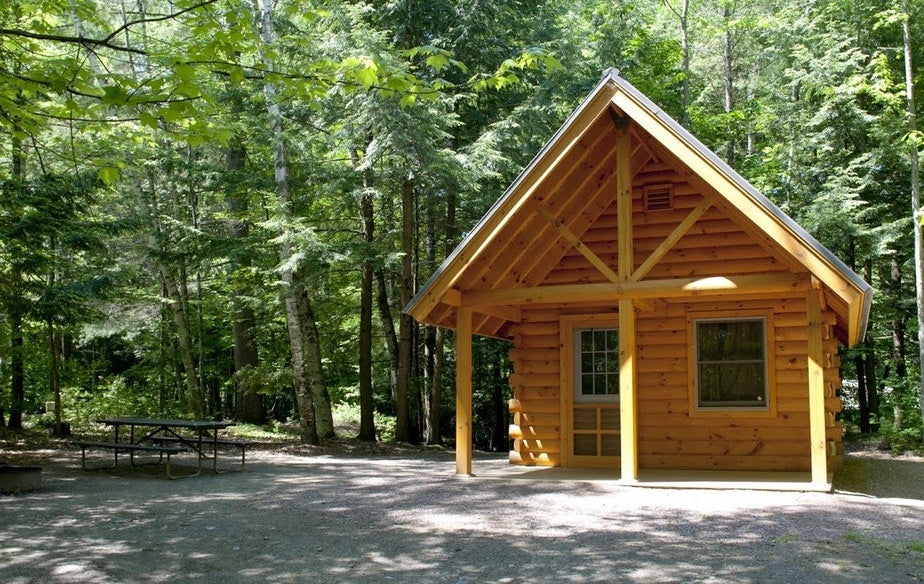a-frame log cabin at Vermont's little river state park, photo from a camper on The Dyrt