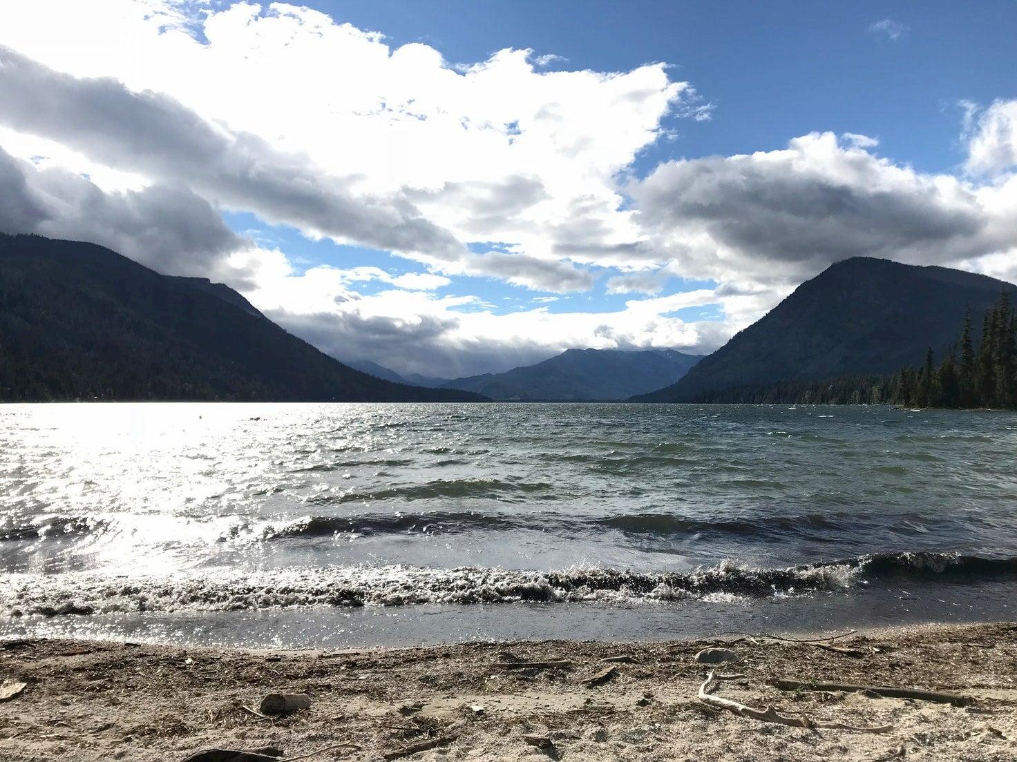 Sandy beach along Lake Wenatchee.
