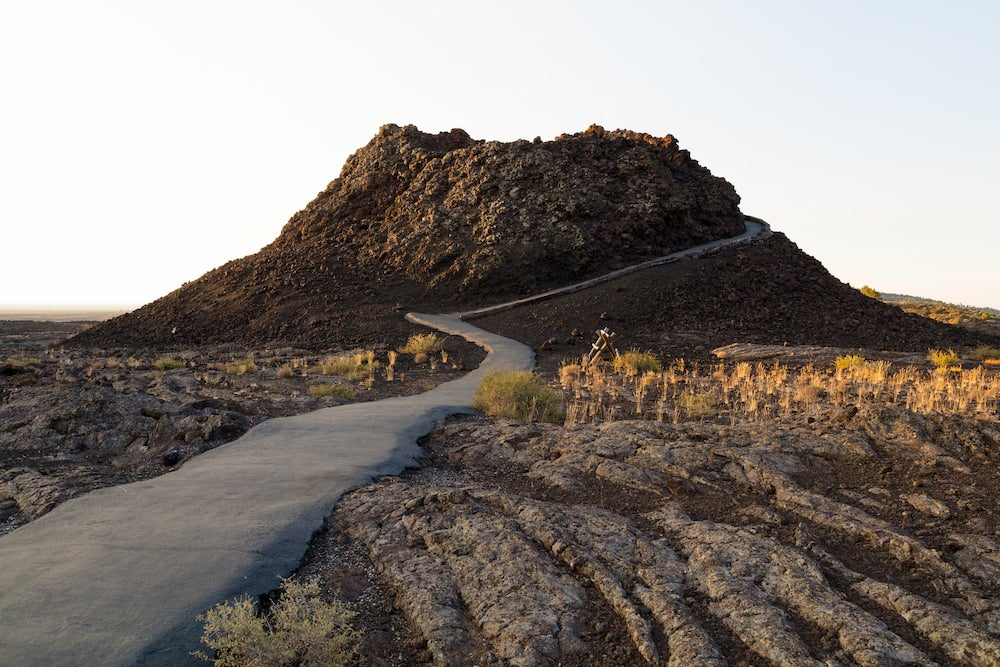 An early morning view of the Spatter Cones trail in craters of the moon idaho
