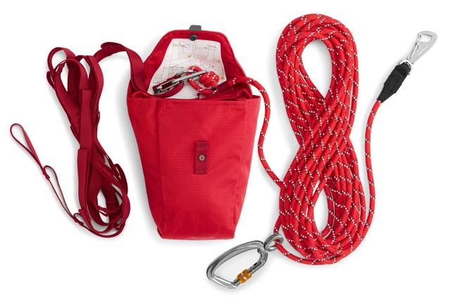 three bundles of rope, part of a set for a dog zip line