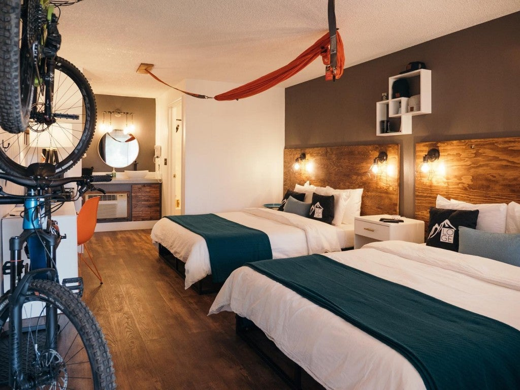 a hotel room with bikes on the wall and a hammock