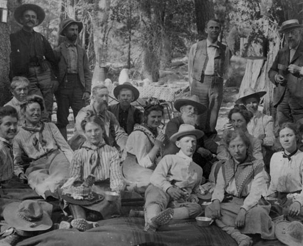 Black and white photo of men and women in the Sierra Club