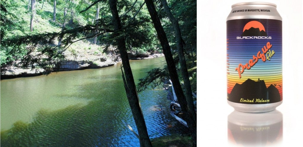 a green river in presque isle state park next to a can of beer