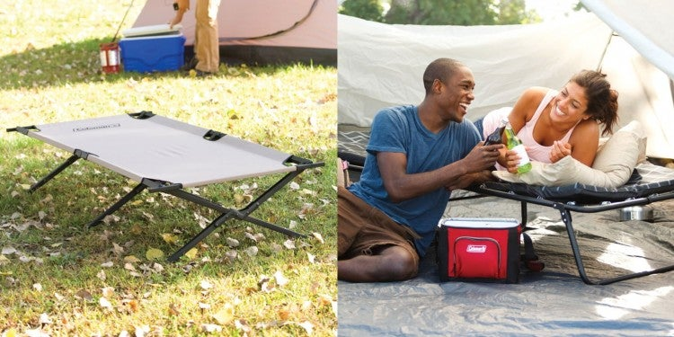 a camping cot on the floor of a campsite and two people in a tent resting on a camping cot