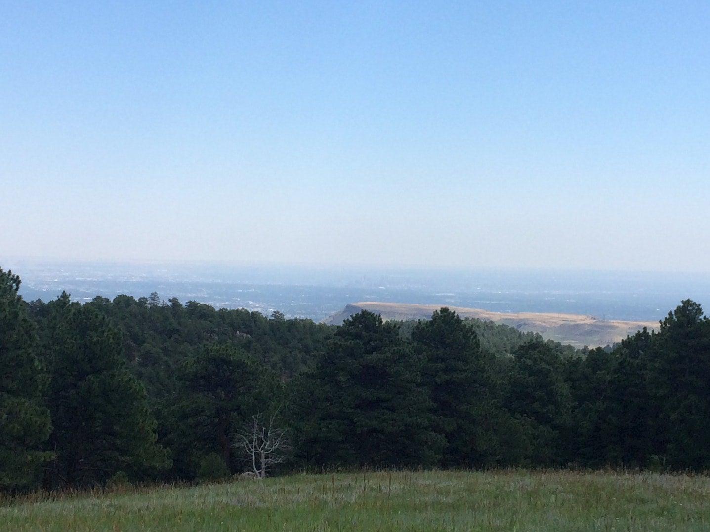 View overlooking valley below from mountainside campsite.