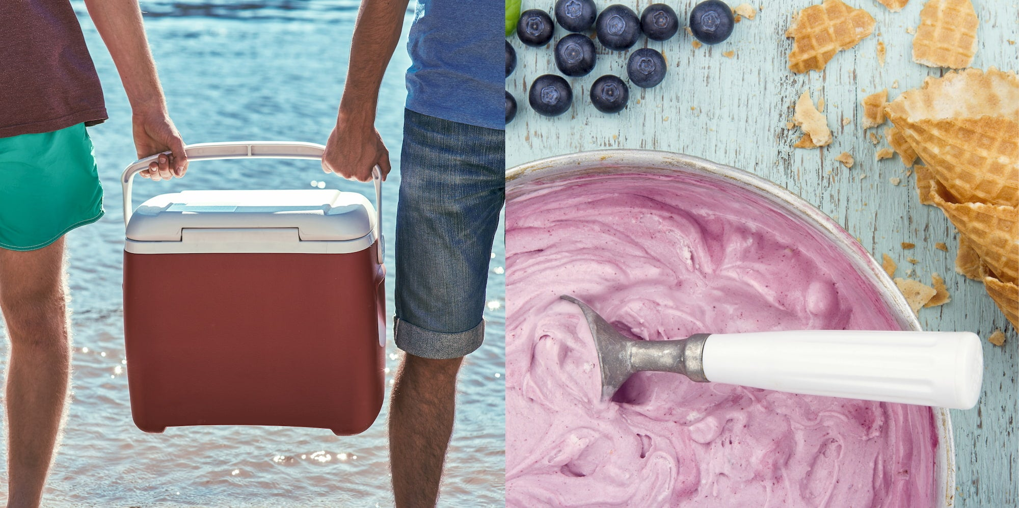 Left: Two people holding a cooler. Right: Homemade blueberry ice cream in a bowl with blueberries and waffle cones.