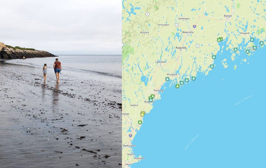 a map of campgrounds on the maine coast with people walking on the shore