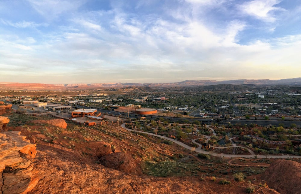 an ariel shot of st george utah from a mountain