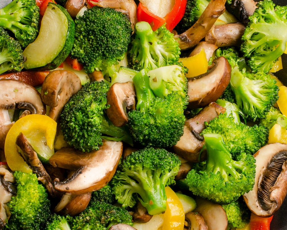 Stir fried mushrooms, broccoli, and peppers.