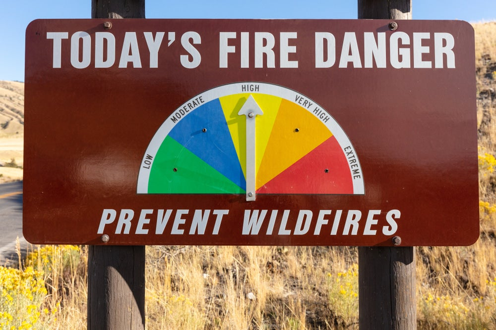 Yellowstone National Park's Fire Danger warning sign
