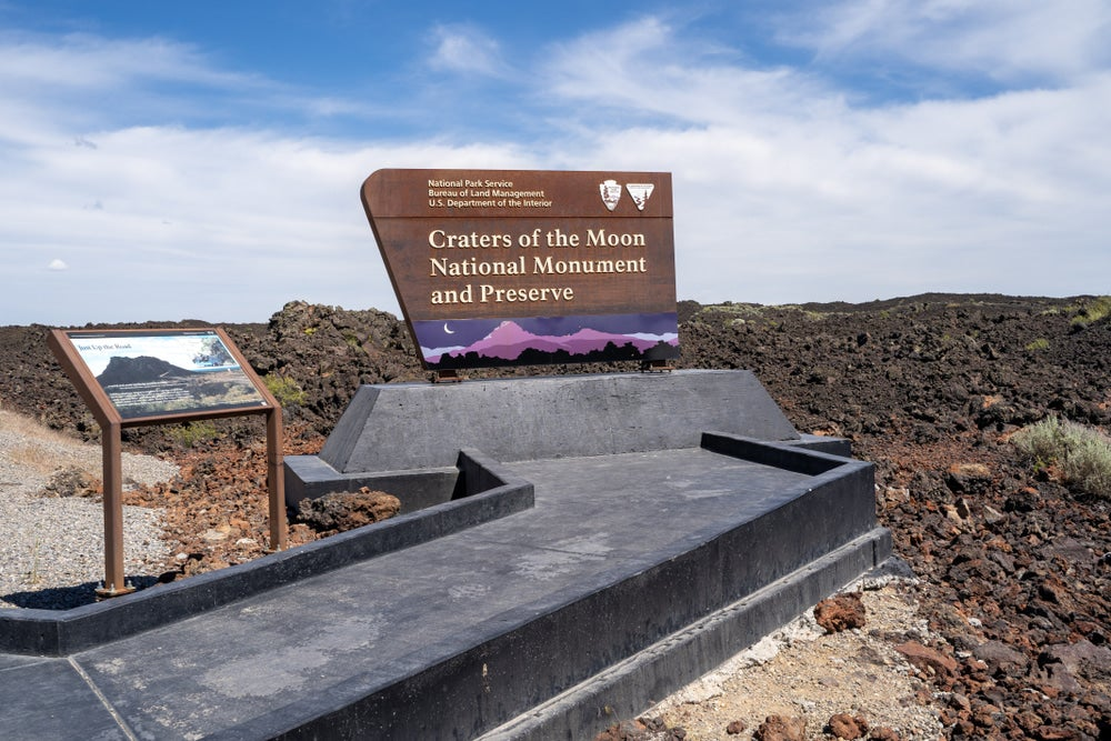 a sign above a lava field in Craters of the Moon National Monument, Idaho