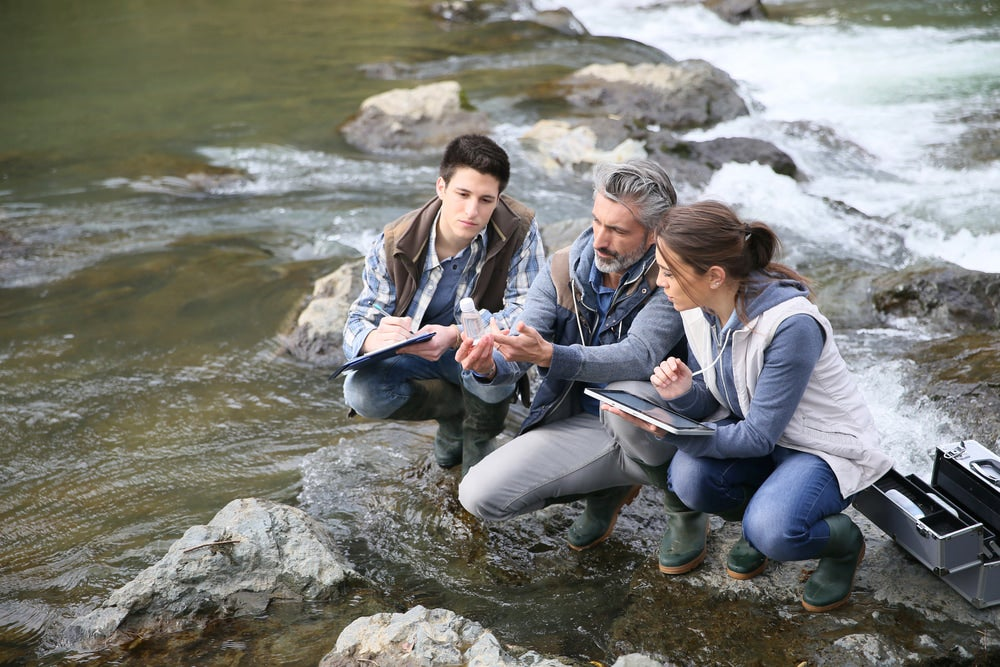 Researchers test water quality in wild rivers and streams.