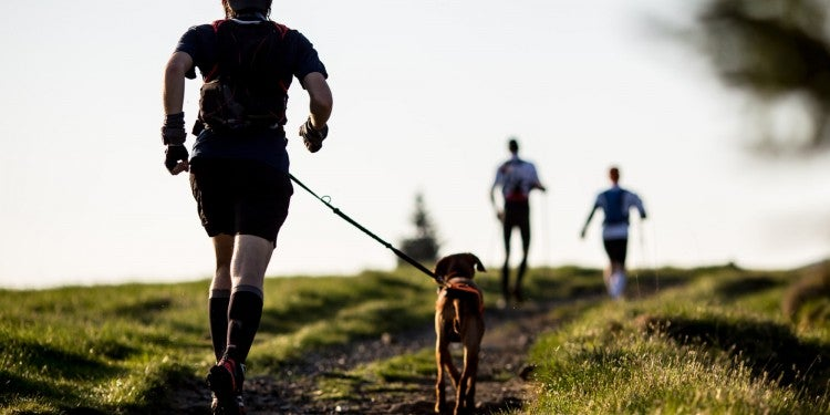 a man running on a trail with a dog