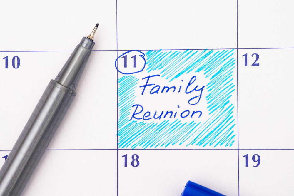 Family reunion written on a calendar.