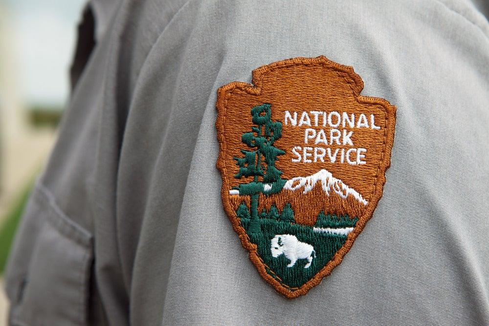 National park ranger's badge on shirt sleeve
