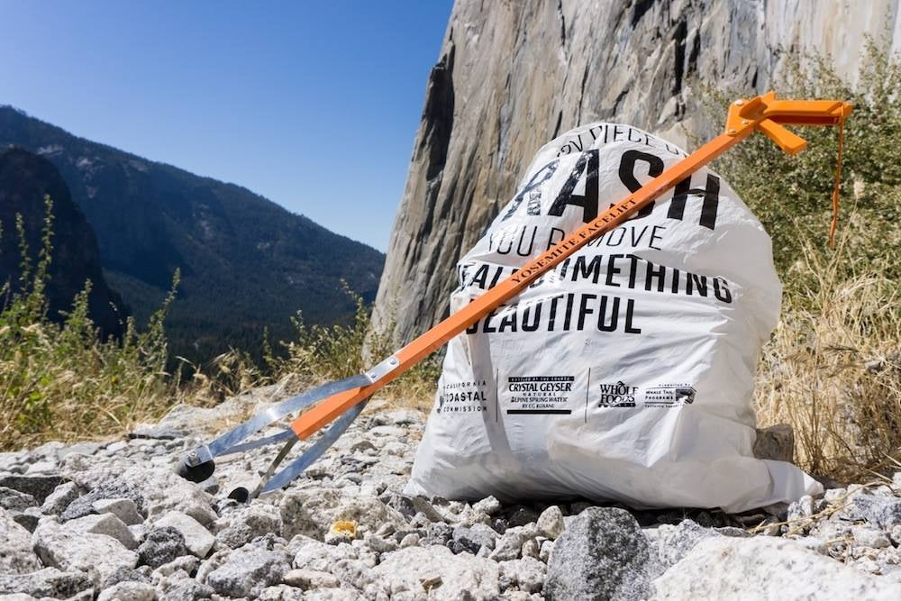 a bag of trash on a rock face in yosemite national park