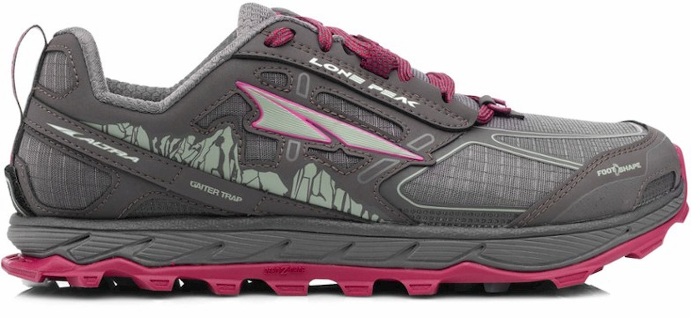 Women's Altra Lone Peaks in Grey and Magenta.