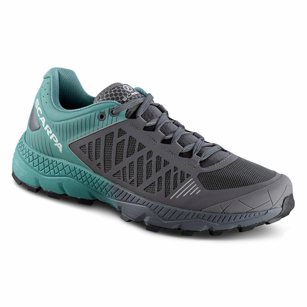 Blue and Grey Scarpa Spin Ultra shoe.