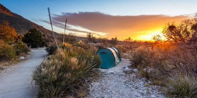 Tent in the Texas desert during sunrise,