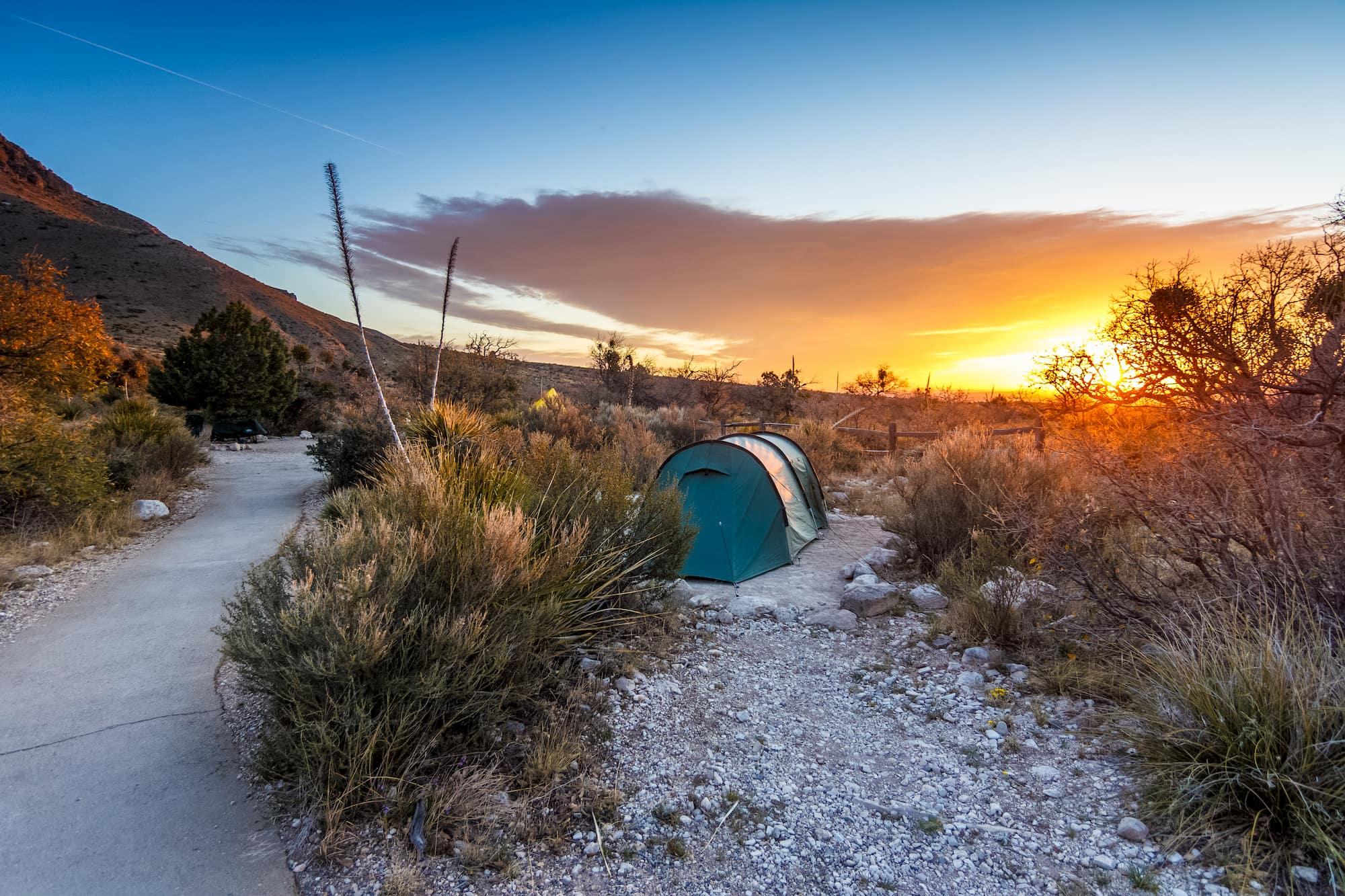 Tent in the Texas desert during sunrise,