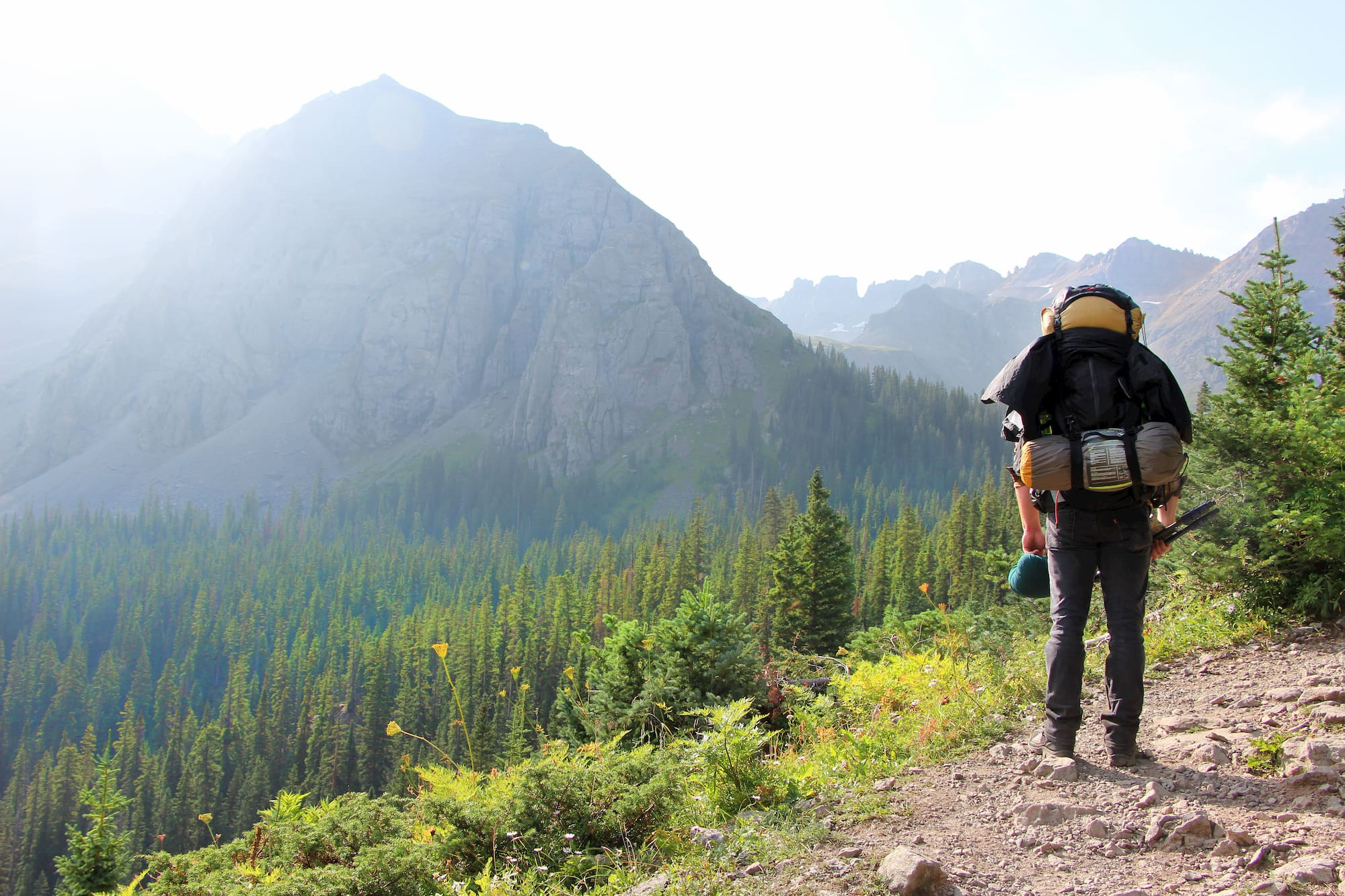 Backpacker hiking down trail in a forested alpine landscape.