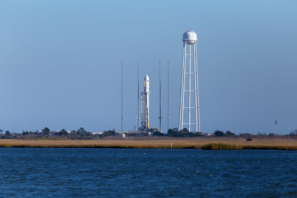 A rocket stands ready for launch at NASA's Wallops Flight Facility in Virginia